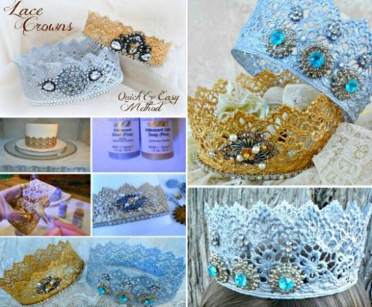 DIY Princess Lace Crown Tutorial-Quick Microwave Method