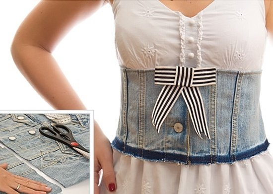 20+ Fabulous DIY Ideas and Tutorials to Refashion Your Old Jeans - Handmade Denim Corset Belt D.I.Y Tutorial