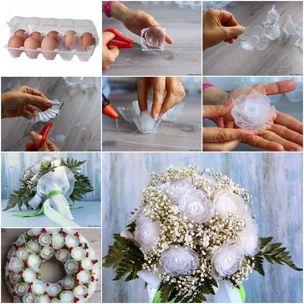 How to make plastic flower bouquet from egg box www Egg carton flowers ideas
