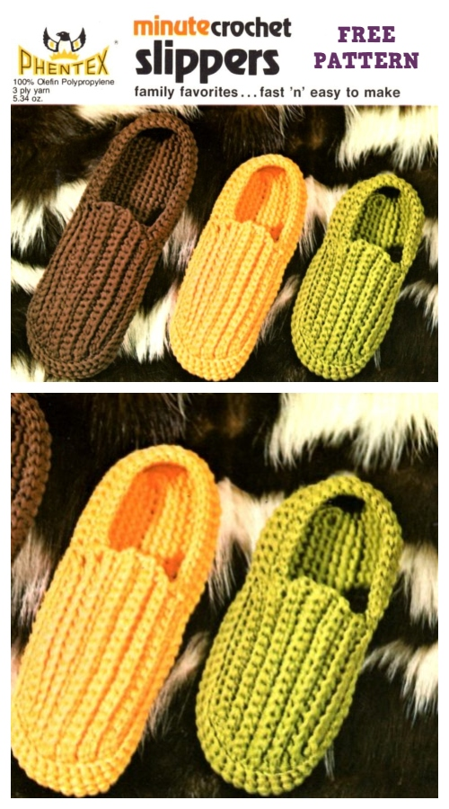 Minute Crochet Slippers Free Crochet Pattern - All Sizes