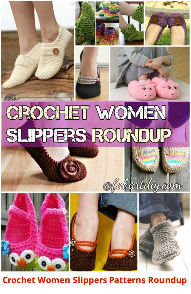 DIY Crochet Women Slippers Shoe Patterns Round Up