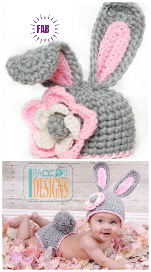 Crochet Bunny Hat with Flower Paid Pattern