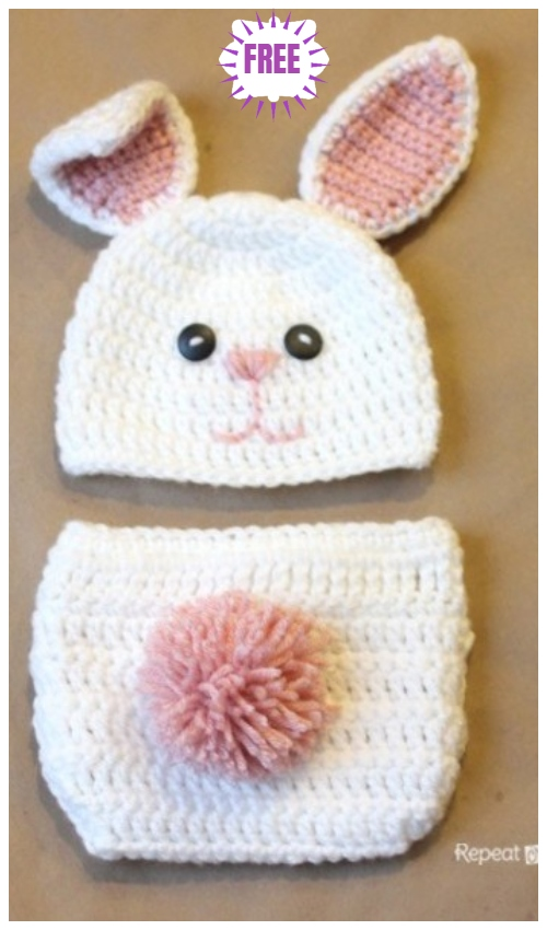 Easter Bunny Hat and Diaper Set Free Crochet Pattern