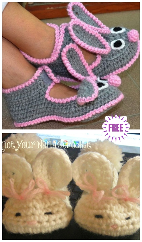 Crochet Bunny Slippers Free Crochet Patterns