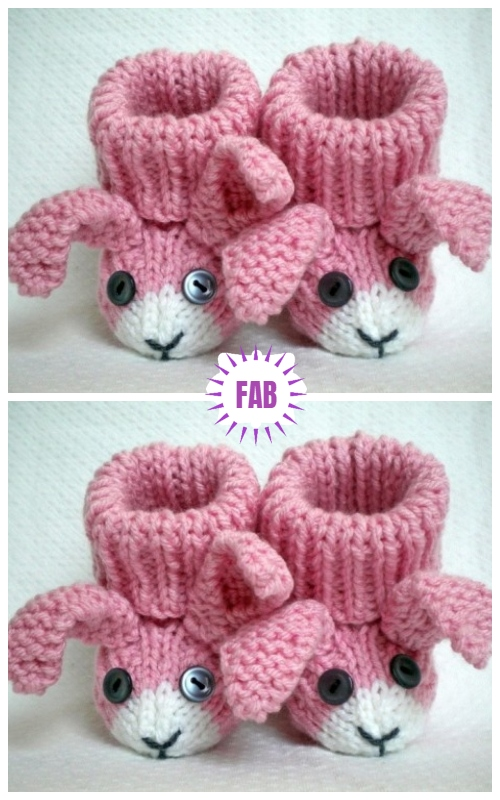 Bunny Rabbit Baby Booties Knitting Paid Pattern
