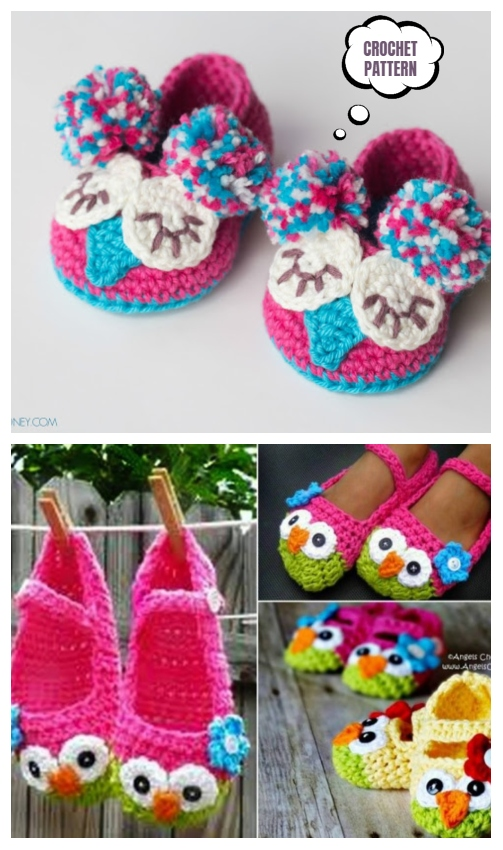 Crochet Mary Jane Owl Slippers Pattern Free and Paid