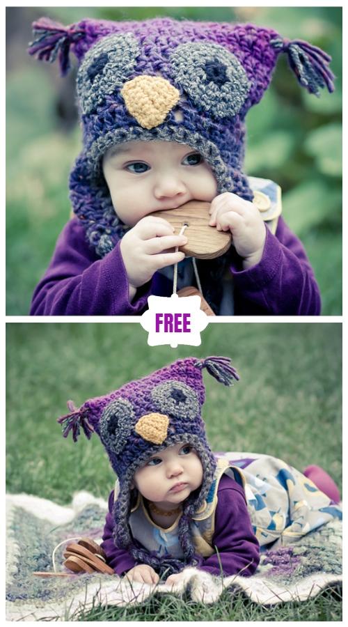 Cute Crochet Baby Animal Hat Free Crochet Patterns - Crochet Wooly Owl Hat Free Pattern