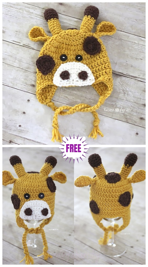 Cute Crochet Baby Animal Hat Free Crochet Patterns - Crochet Giraffe HatFree Pattern
