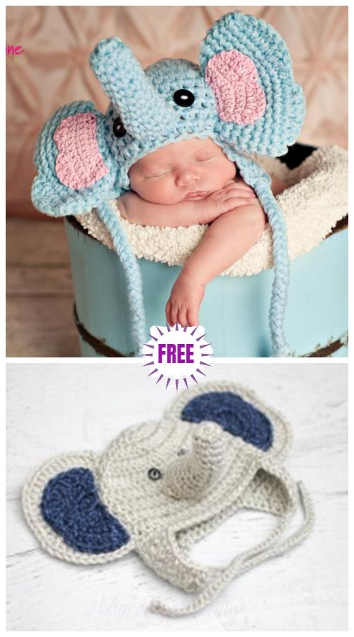 Cute Crochet Baby Animal Hat Free Crochet Patterns - CrochetElephant HatFree Patterns