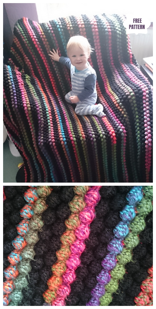 Crochet Scrap Yarn Bobble Blanket Free Crochet Pattern