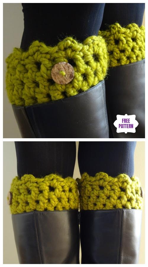 DIY Crochet Boot Cuffs Free Crochet Patterns -Friendship Boot Cuff Free Crochet Pattern