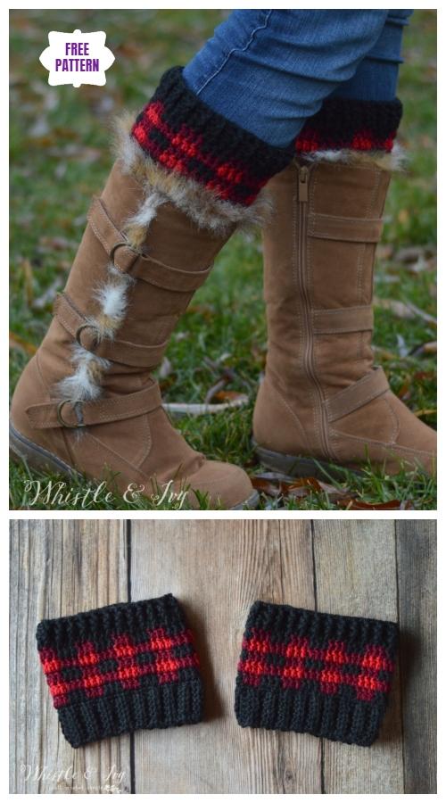 DIY Crochet Boot Cuffs Free Crochet Patterns -Plaid Boot Cuffs Free Crochet Pattern