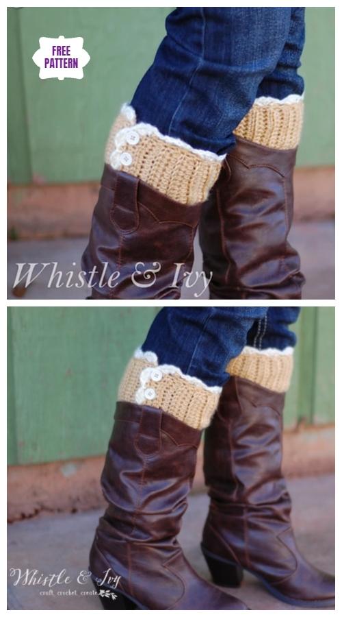 DIY Crochet Boot Cuffs Free Crochet Patterns -Lacy Boot Cuffs Free Crochet Pattern