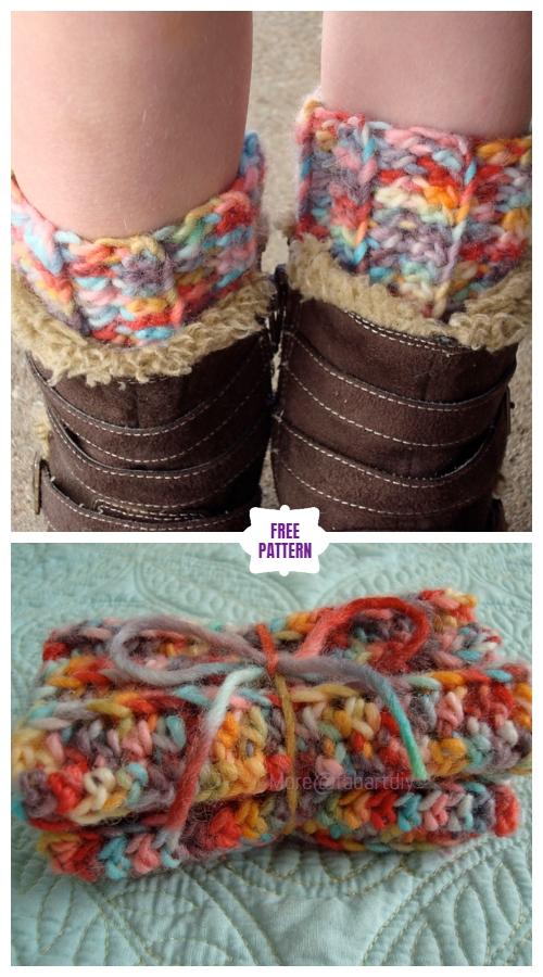 DIY Crochet Boot Cuffs Free Crochet Patterns -Ribbed Boot Cuffs Free Crochet Pattern