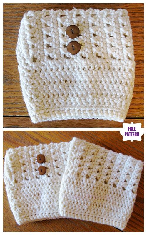 DIY Crochet Boot Cuffs Free Crochet Patterns -Kathy's Cross Stitch Boot Cuffs Free Crochet Pattern