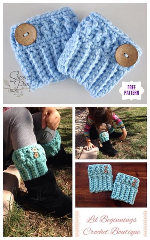 DIY Crochet Boot Cuffs Free Crochet Patterns -Chunky Boot CuffsFree Crochet Pattern