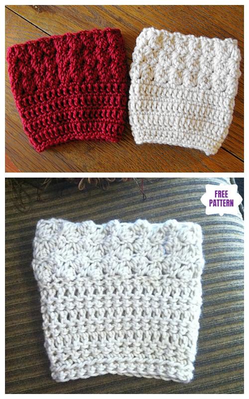 DIY Crochet Boot Cuffs Free Crochet Patterns -Kathy's Ripple Boot Cuffs Free Crochet Pattern