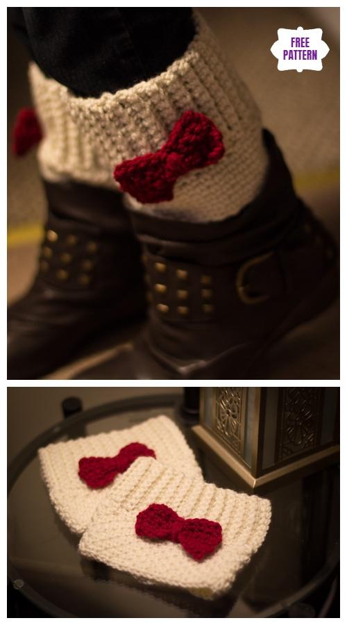 DIY Crochet Boot Cuffs Free Crochet Patterns -Little Bow Boot Cuffs Free Crochet Pattern