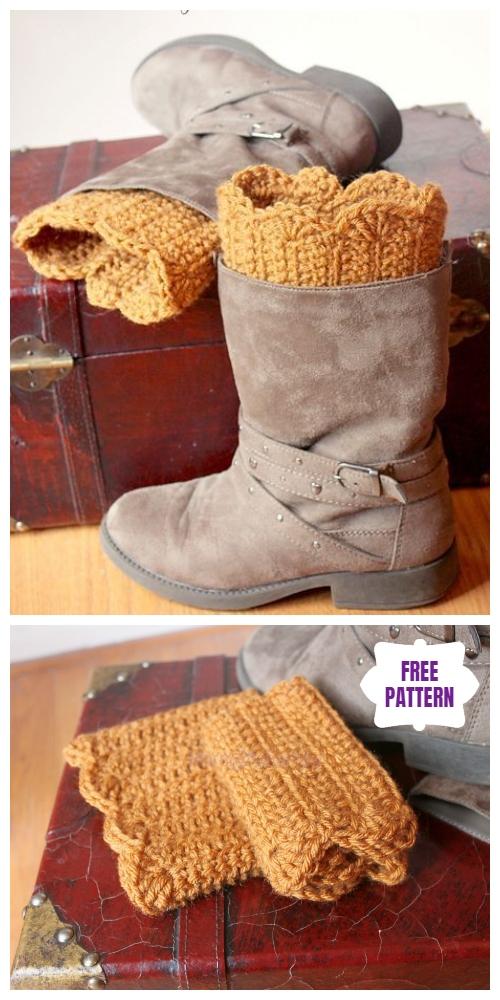 DIY Crochet Boot Cuffs Free Crochet Patterns -Scalloped Boot Cuffs Free Crochet Pattern