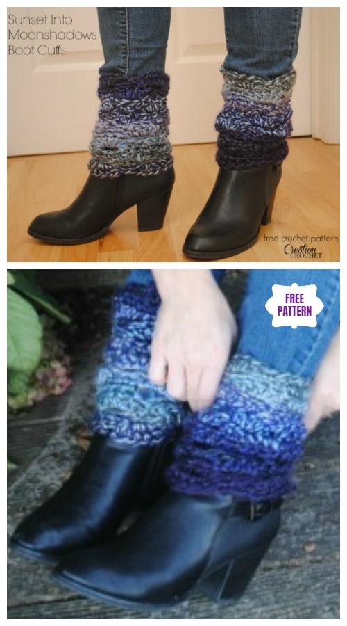 DIY Crochet Boot Cuffs Free Crochet Patterns -Sunset into Moonshadows Boot CuffsFree Crochet Pattern