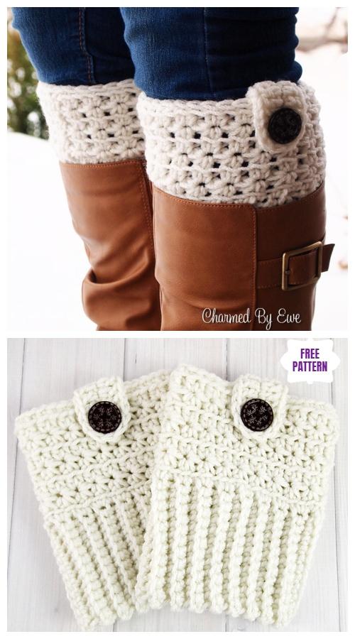 DIY Crochet Boot Cuffs Free Crochet Patterns -Star Stitch Boot Cuffs Free Crochet Pattern