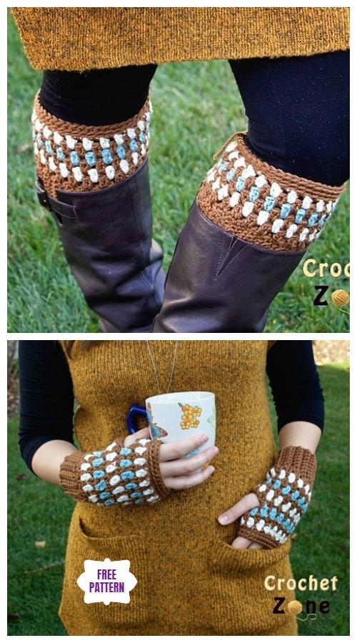 DIY Crochet Boot Cuffs Free Crochet Patterns - Diamonds and Gems Fingerless Gloves & Boot Cuffs Free Crochet Pattern