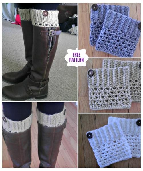 DIY Crochet Boot Cuffs Free Crochet Patterns- Mesh Boot CuffsFree Crochet Pattern