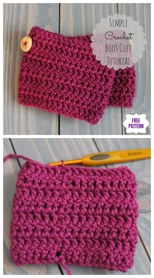 DIY Crochet Boot Cuffs Free Crochet Patterns -Simple Crochet Boot CuffFree Crochet Pattern