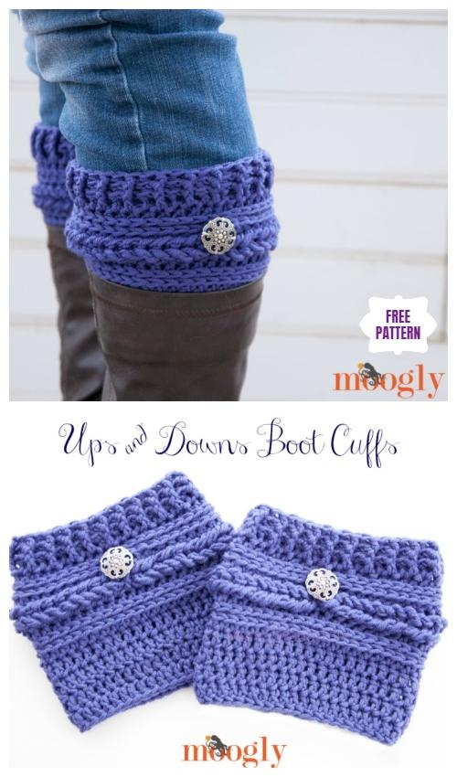 DIY Crochet Boot Cuffs Free Crochet Patterns -Ups and Downs Boot Cuffs Free Crochet Pattern