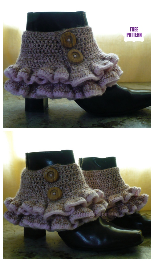 DIY Crochet Boot Cuffs Free Crochet Patterns -VictorianRuffled Spats (boot cuffs)Free Crochet Pattern