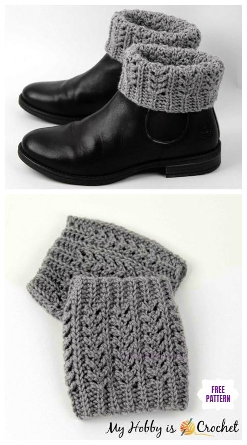 DIY Crochet Boot Cuffs Free Crochet Patterns -Chic Aran Boot Cuffs Free Crochet Pattern