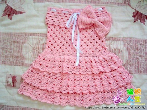DIY Crochet girls layerred Lace dress free pattern