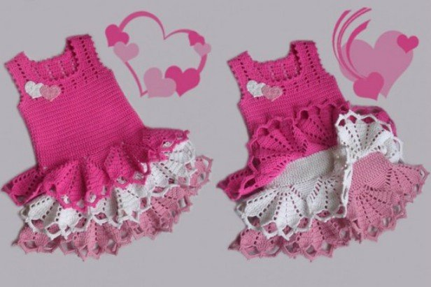 Crochet Hearty Valentine Dress free pattern - little Girl Version
