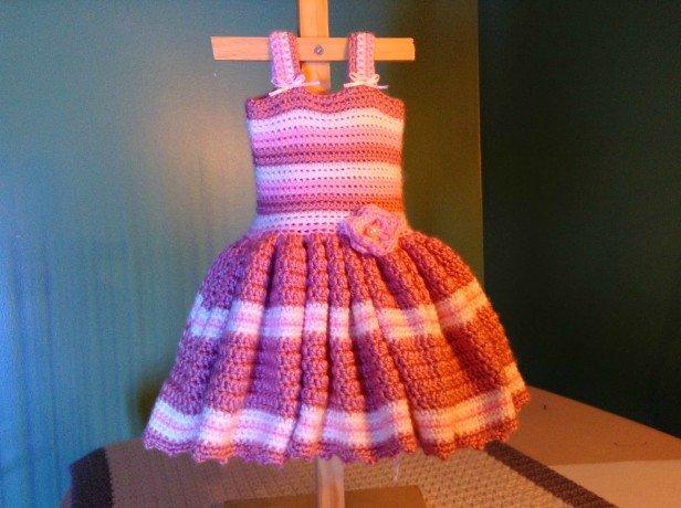 Crochet Newborn Pink Stripe Dress Free Pattern