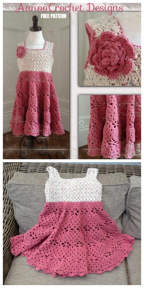 Little Girl Vintage Dress Crochet Free Pattern By AnnooCrochet Designs