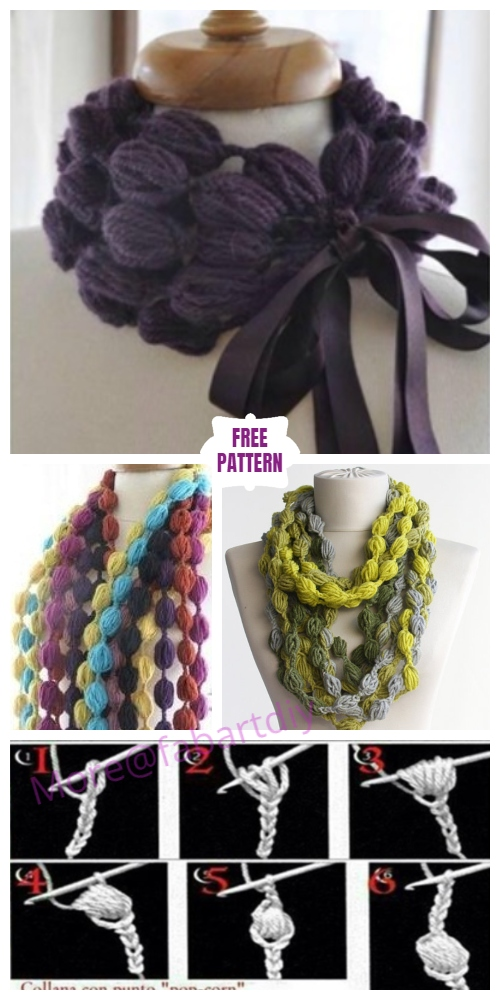 Crochet Pom Pom Puff Popcorn Stitch Scarf Free Crochet Pattern - Video
