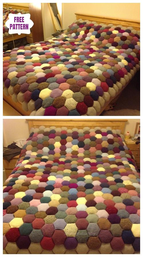 CrochetThe Apiary Puff Stitch Blanket Free Crochet Pattern