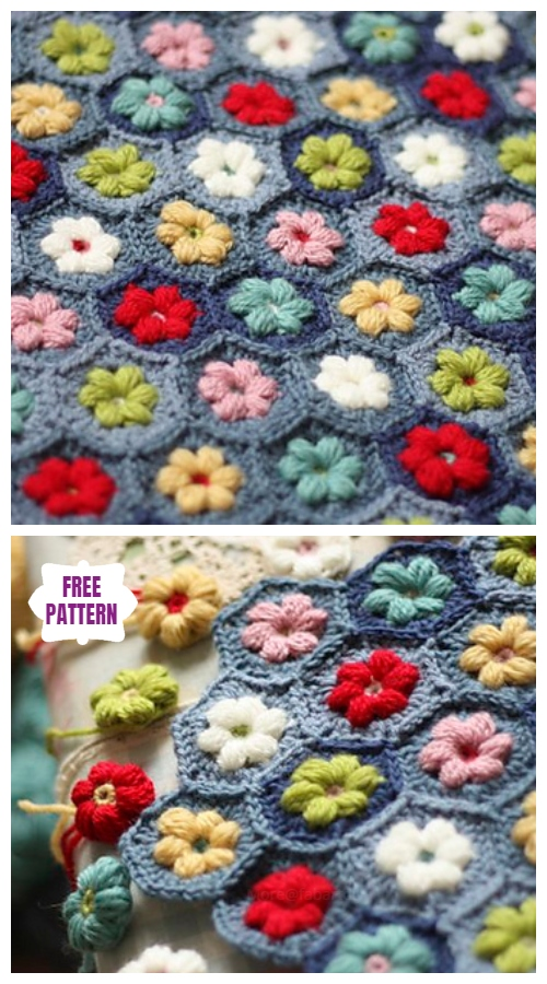 Crochet Daisy PuffagonStitch Blanket Free Crochet Pattern