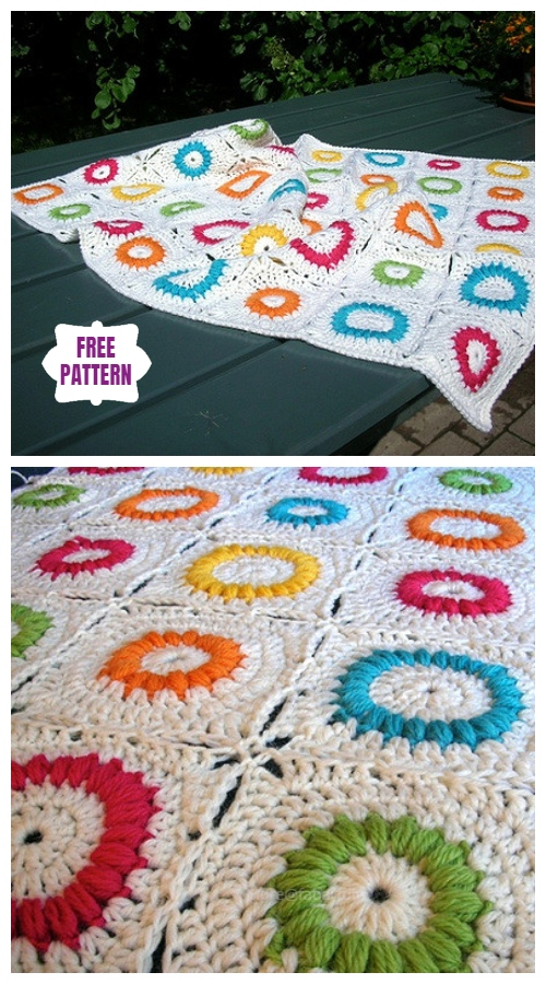 Crochet Mille's Puffed Rings Granny Square Blanket Free Crochet Pattern