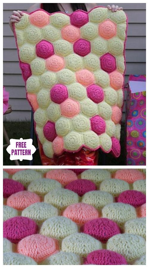 Crochet Hexa-Puff QuiltBlanketFree Crochet Pattern