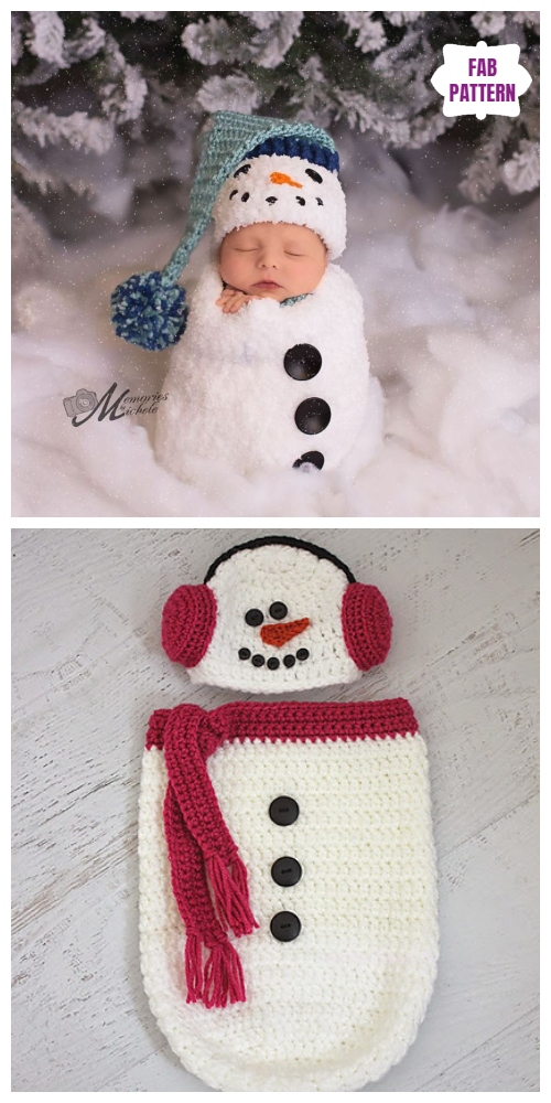 Christmas Crochet Snowman Baby Cocoon Free Crochet Pattern & Paid