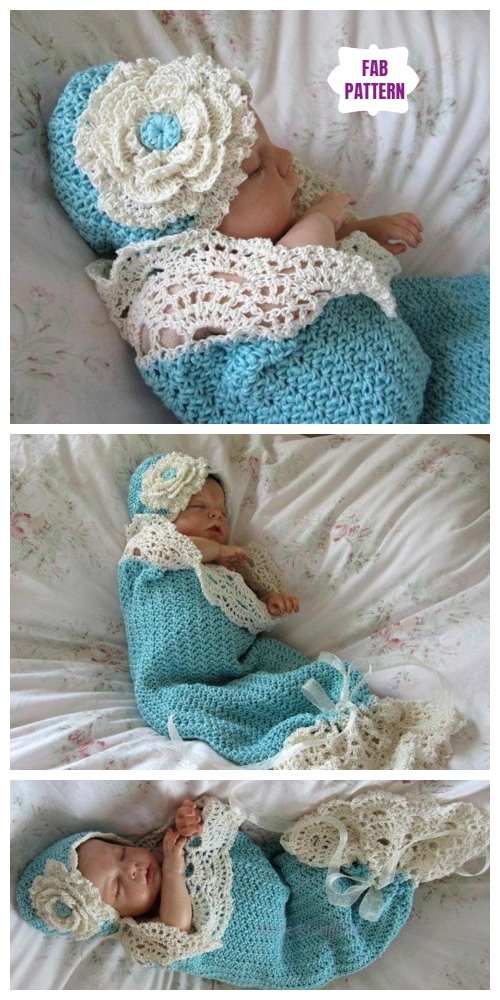 Crochet Seaside Cottage Snuggle Cocoon and Hat Set Crochet Patterns