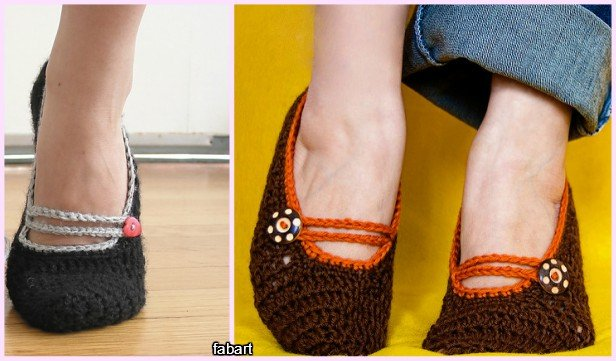 DIY Crochet Adult Slippers Pattern Round Up- Crochet Mary Jane Slippers Free Pattern