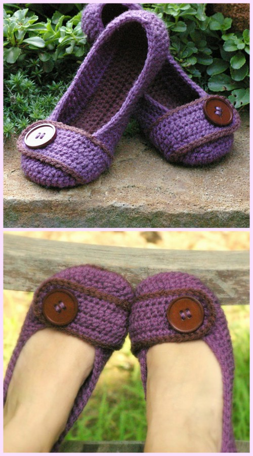 DIY Crochet Adult Slippers Pattern Round Up- Crochet Women House Slippers Pattern