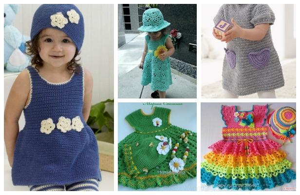 DIY Girl's Crochet Dress and Hat Set Free Patterns