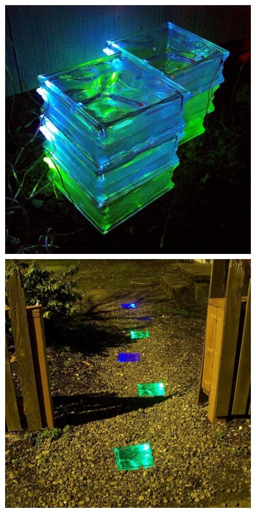 20+ DIY Stunning Outdoor Lighting Ideas for Summer Night - Glass Bricks Make Lighted Paving Stones DIY Tutorial
