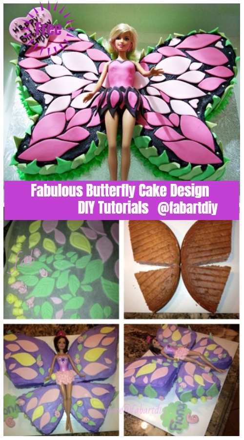 Fabulous Butterfly Cake Design DIY Tutorials - Barbie Butterfly Cake DIY Tutorial