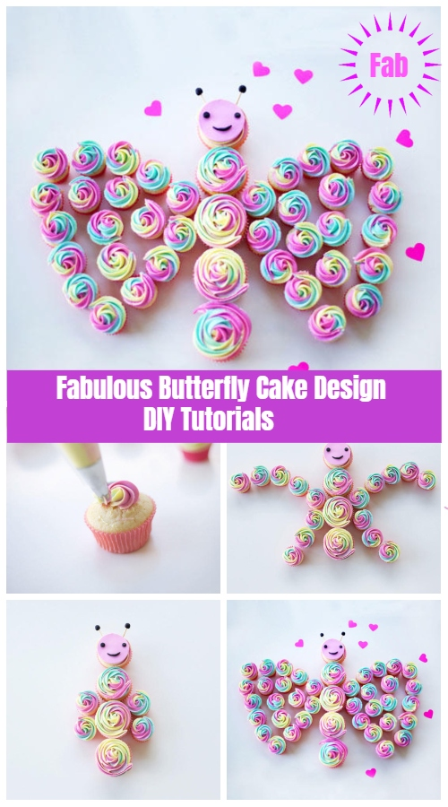 Fabulous Butterfly Cake Design DIY Tutorials - - Rainbow Butterfly