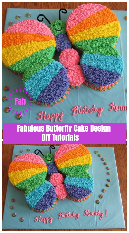 Fabulous Butterfly Cake Design DIY Tutorials - Rainbow Butterfly Layout Tutorial