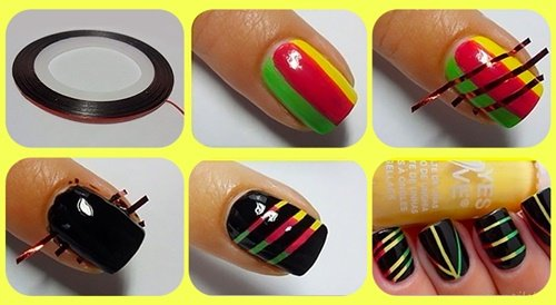yellow_red_green_black_nail_paint_DIY